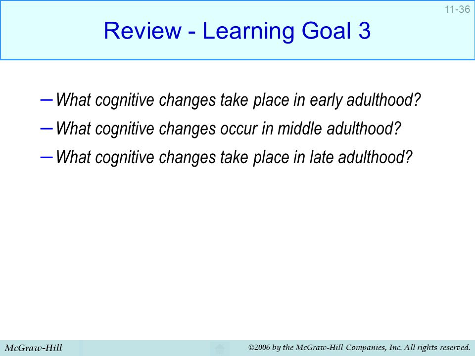 McGraw-Hill ©2006 by the McGraw-Hill Companies, Inc. All rights reserved. 11-36 Review - Learning Goal 3 – What cognitive changes take place in early