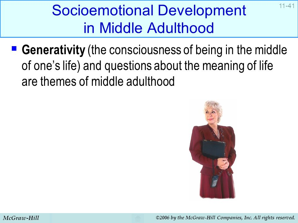 McGraw-Hill ©2006 by the McGraw-Hill Companies, Inc. All rights reserved. 11-41 Socioemotional Development in Middle Adulthood  Generativity (the con