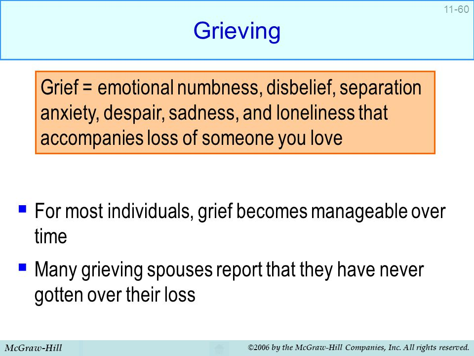 McGraw-Hill ©2006 by the McGraw-Hill Companies, Inc. All rights reserved. 11-60 Grieving  For most individuals, grief becomes manageable over time 