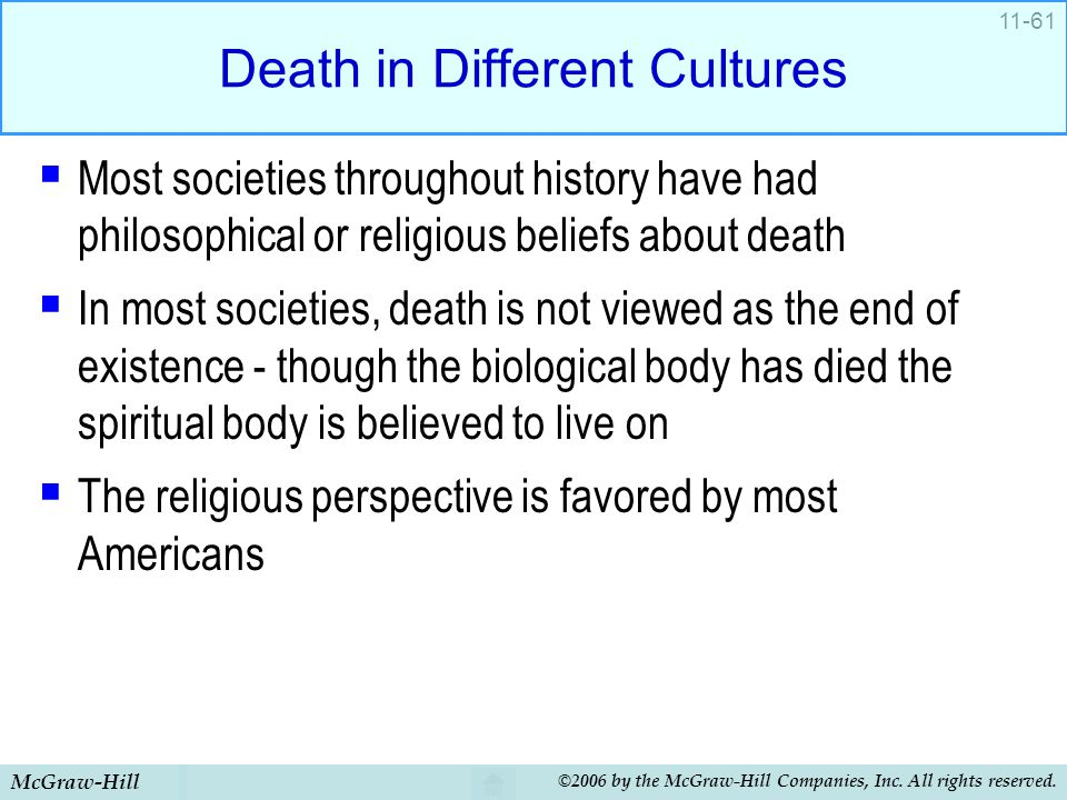 McGraw-Hill ©2006 by the McGraw-Hill Companies, Inc. All rights reserved. 11-61 Death in Different Cultures  Most societies throughout history have h