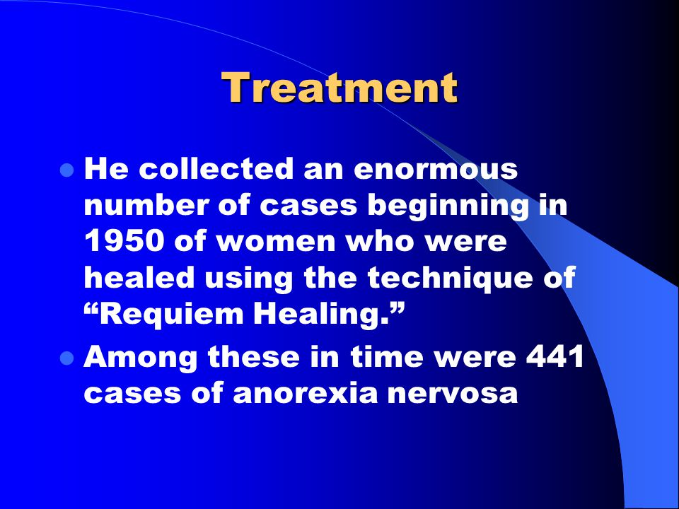 Treatment Since I was seeing more an more women who had abortions and were had developed disabling symptoms after the procedure I used his techniques with results similar to those he got.