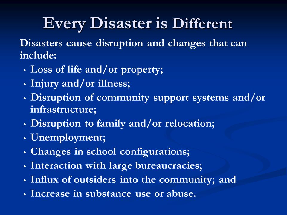 Community Reactions: Phases of Disaster Adapted from CMHS, 2000.