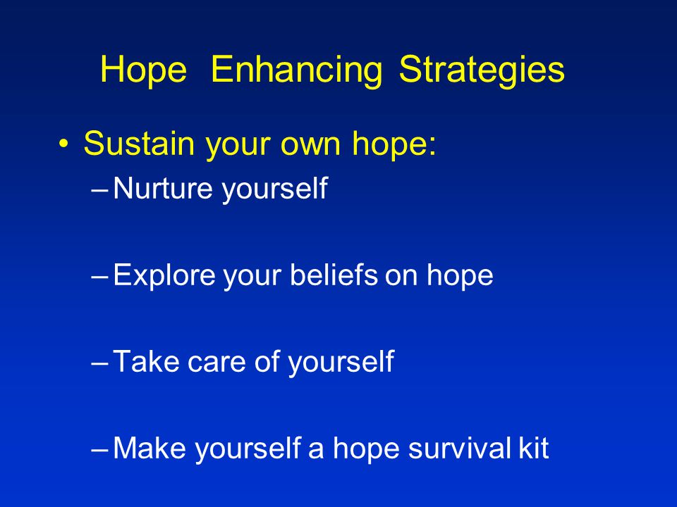 A Hope Survival Kit List 5 -6 words/phrases that describe you What has meaning to you.