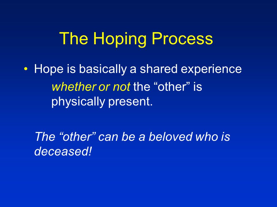 The Hoping Process Hope is an imagination activity...