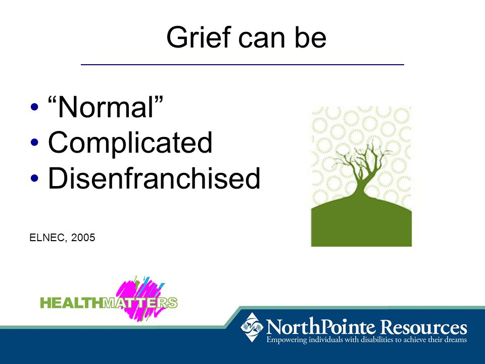 Grief can be Normal Complicated Disenfranchised ELNEC, 2005