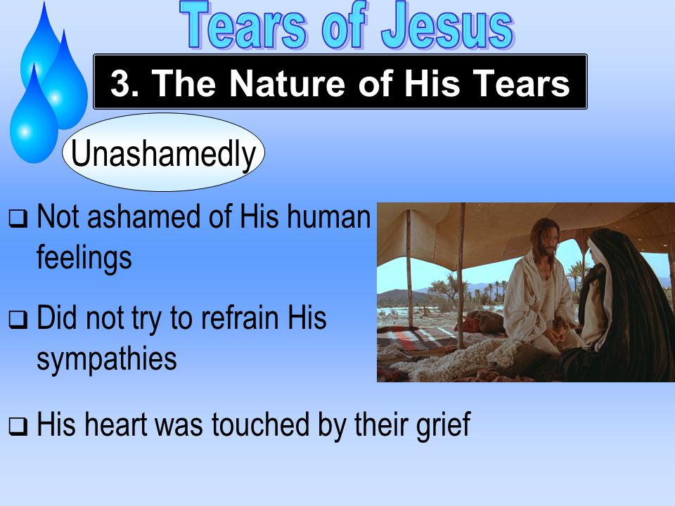  Not ashamed of His human feelings  Did not try to refrain His sympathies Unashamedly 3.