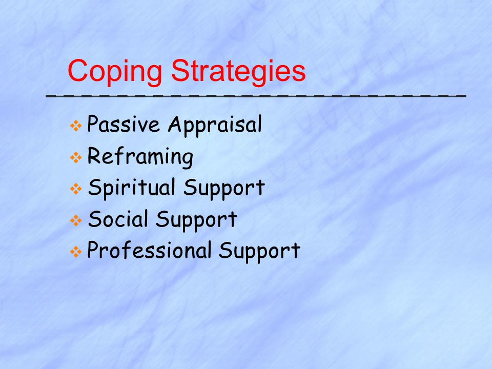 Coping Strategies  Passive Appraisal  Reframing  Spiritual Support  Social Support  Professional Support