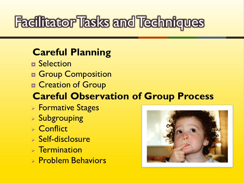 Careful Planning  Selection  Group Composition  Creation of Group Careful Observation of Group Process  Formative Stages  Subgrouping  Conflict  Self-disclosure  Termination  Problem Behaviors