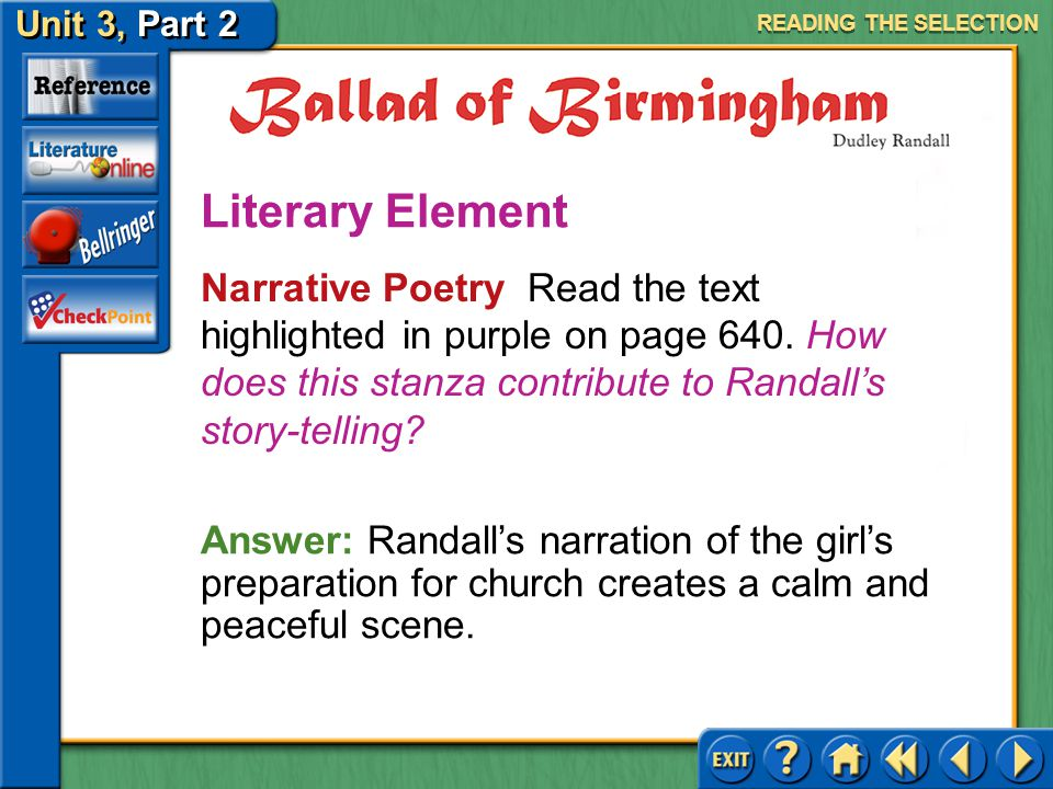 Unit 3, Part 2 Ballad of Birmingham Applying Background Knowledge Read the text highlighted in blue on page 640. What information do you know about ch