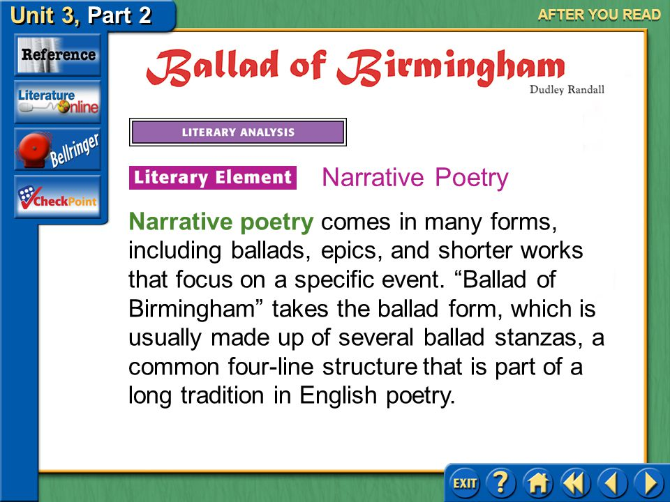 Unit 3, Part 2 Ballad of Birmingham AFTER YOU READ Answer: You may say that violence seeped into every aspect of life, including places that should be