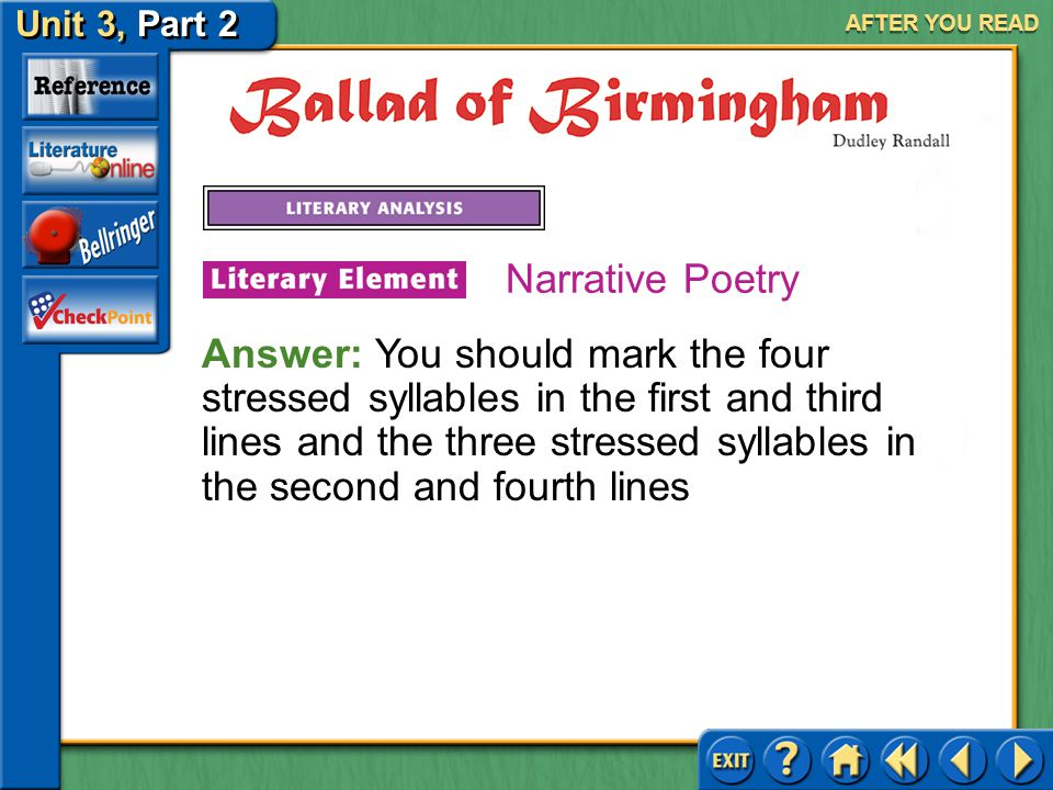 Unit 3, Part 2 Ballad of Birmingham AFTER YOU READ Narrative Poetry 1.Read about ballad in the Literary Terms Handbook beginning on page R1. How does