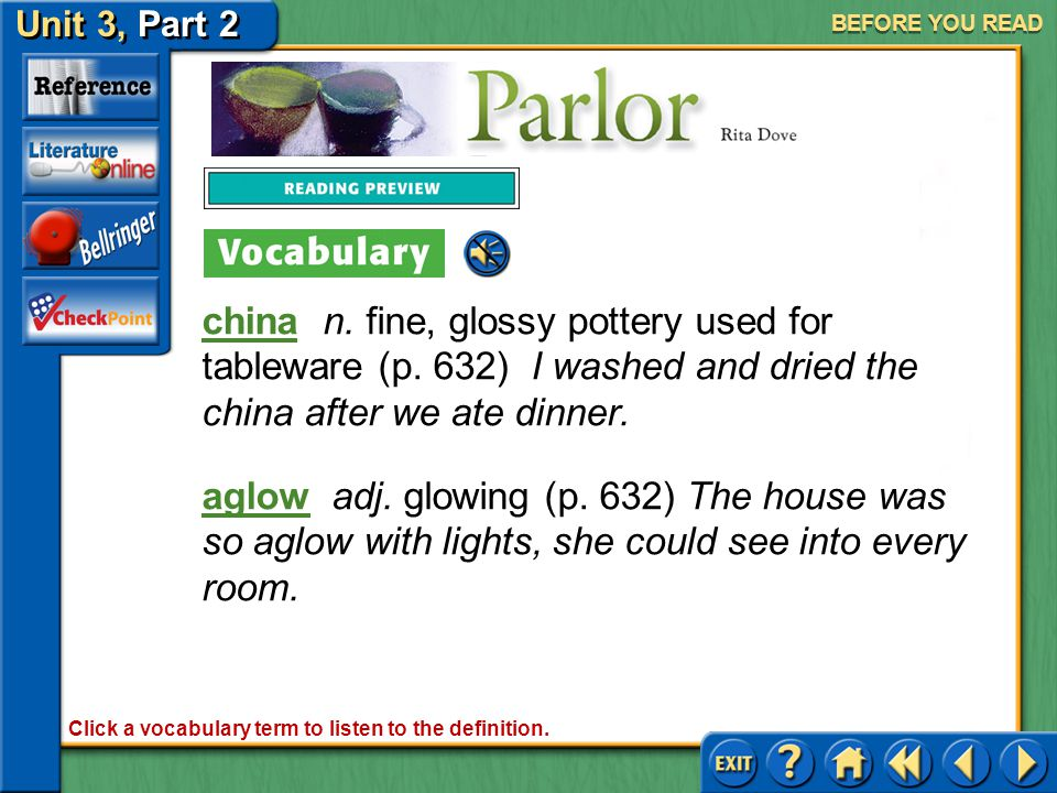 Unit 3, Part 2 Parlor BEFORE YOU READ Interpreting Imagery