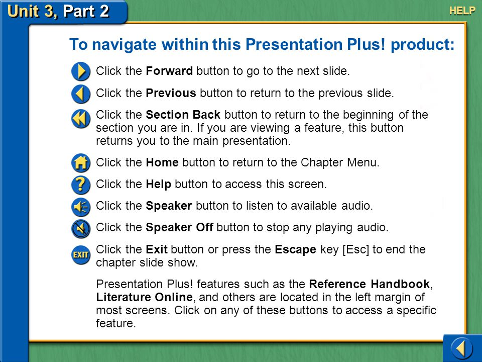 Unit 3, Part 2 Help To navigate within this Presentation Plus.