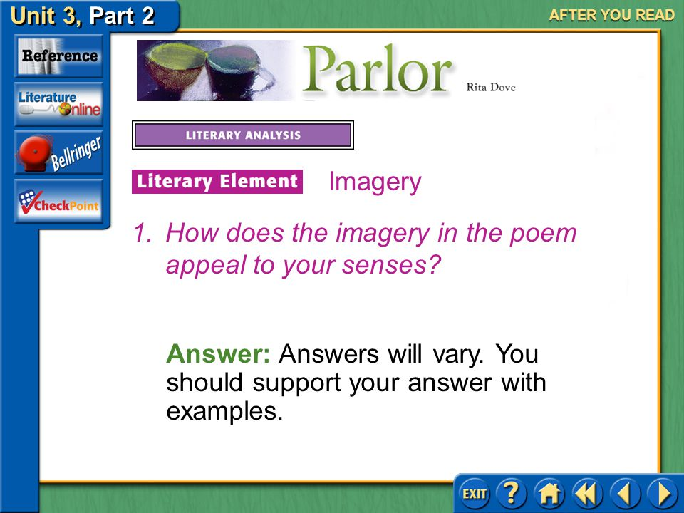 Unit 3, Part 2 Parlor AFTER YOU READ Imagery Many writers use imagery to evoke an emotional response from their readers. Imagery often appeals to one