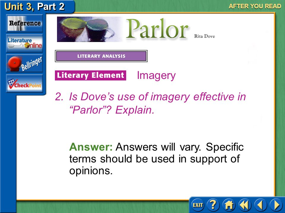 Unit 3, Part 2 Parlor AFTER YOU READ Imagery Answer: Answers will vary. You should support your answer with examples. 1.How does the imagery in the po