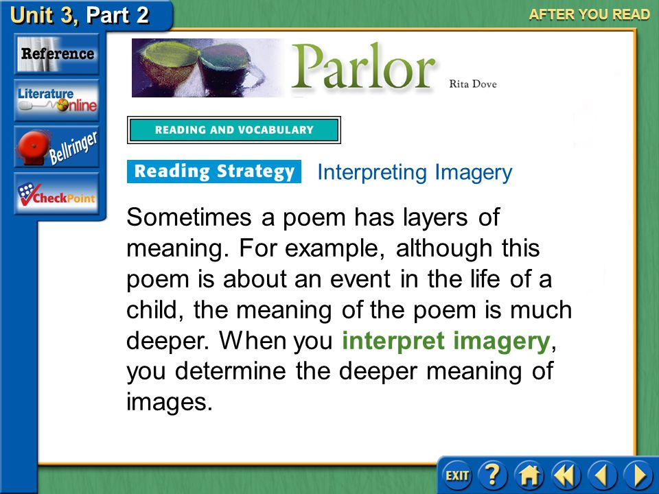 "Unit 3, Part 2 Parlor AFTER YOU READ With a partner, reread ""Parlor"" paying particular attention to stanzas three and five. Choose one person to be th"