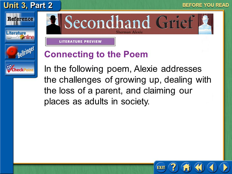 Unit 3, Part 2 Secondhand Grief BEFORE YOU READ Meet Sherman Alexie Click the picture to learn about the author.