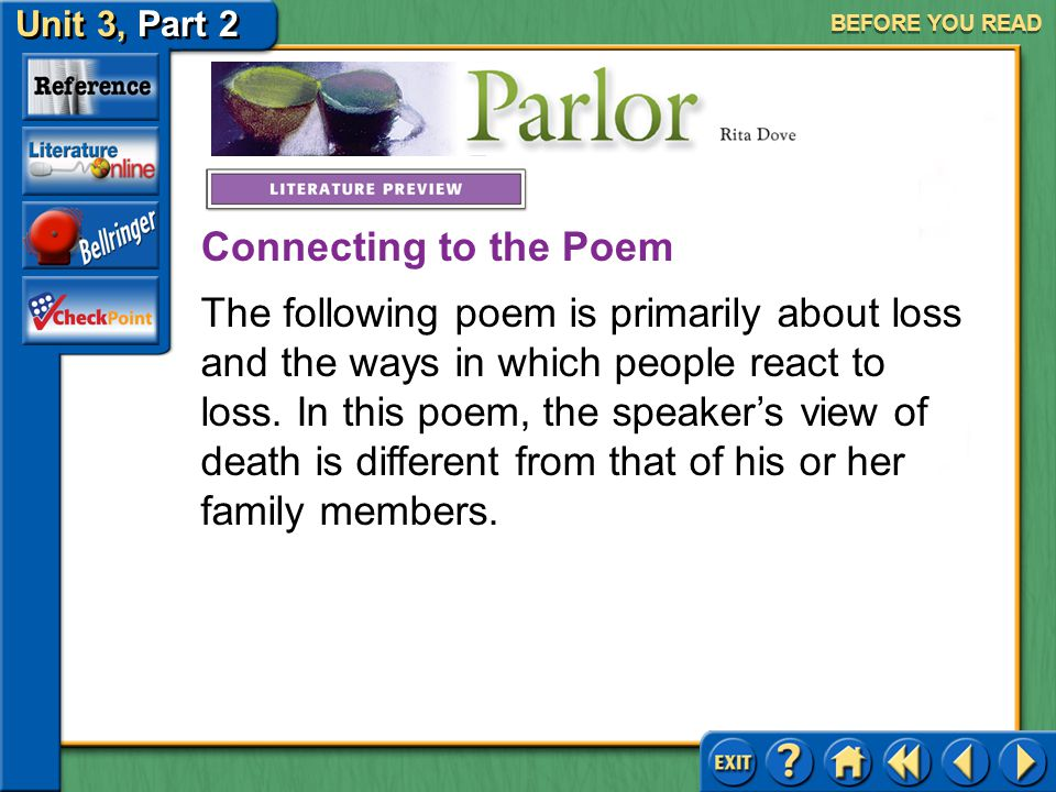 Unit 3, Part 2 Parlor BEFORE YOU READ Meet Rita Dove Click the picture to learn about the author.