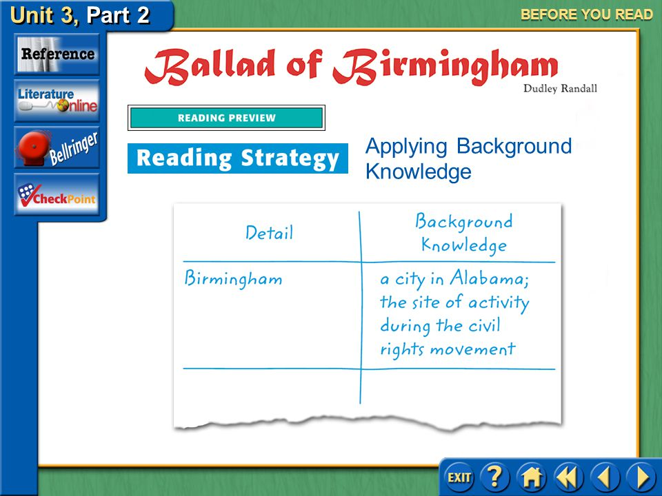 Unit 3, Part 2 Ballad of Birmingham BEFORE YOU READ Reading Tip: Taking Notes It might be useful to create a chart like the one on the next slide to k