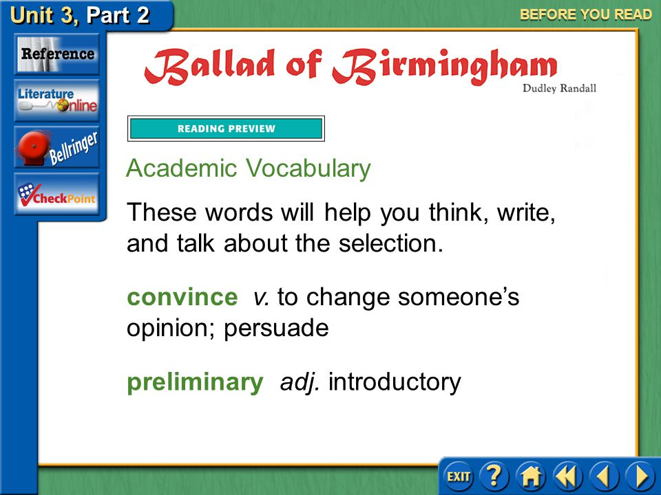 Unit 3, Part 2 Ballad of Birmingham BEFORE YOU READ Applying Background Knowledge