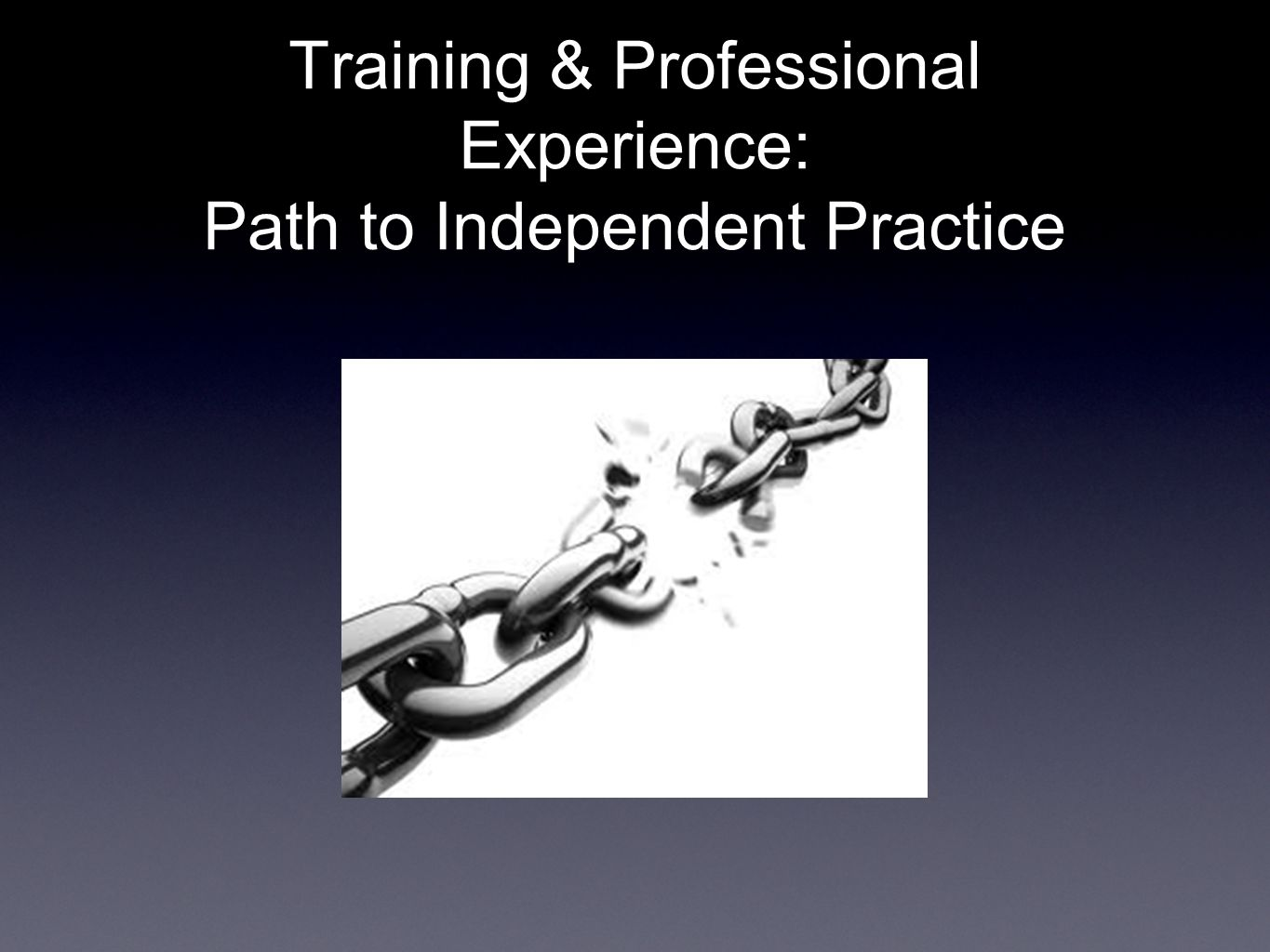 Training & Professional Experience: Path to Independent Practice