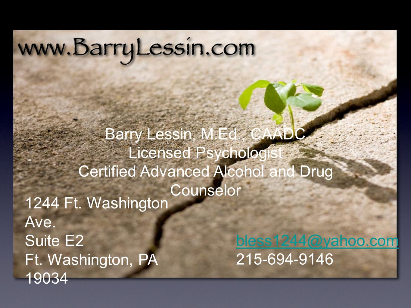 Barry Lessin, M.Ed., CAADC Licensed Psychologist Certified Advanced Alcohol and Drug Counselor 1244 Ft.