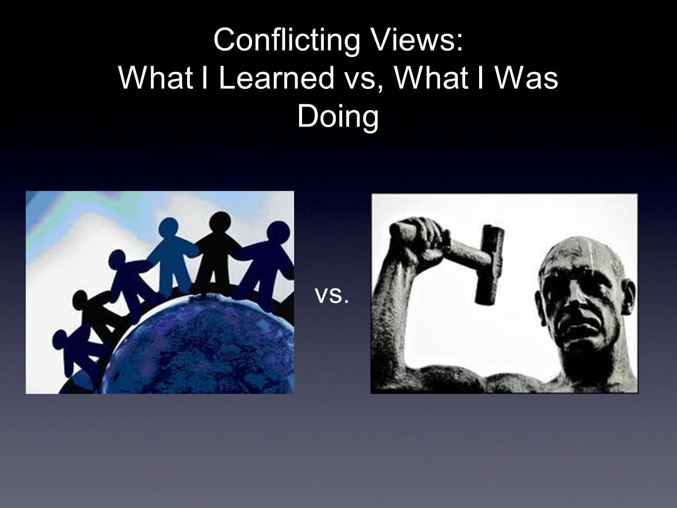 Conflicting Views: What I Learned vs, What I Was Doing vs.