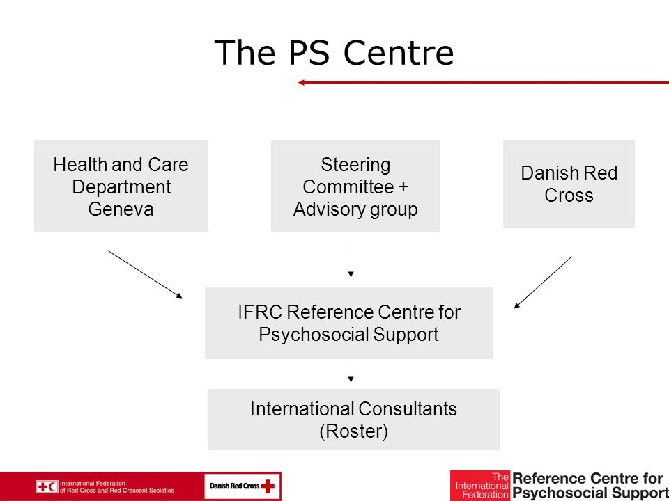12 The PS Centre Steering Committee + Advisory group Danish Red Cross Health and Care Department Geneva IFRC Reference Centre for Psychosocial Support International Consultants (Roster)