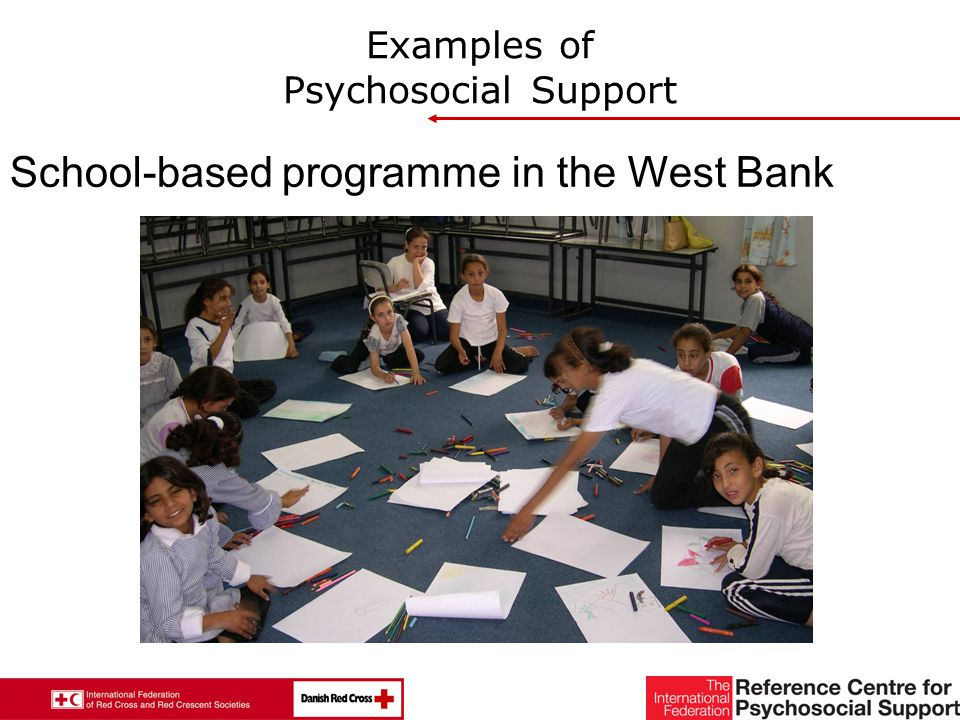 27 Examples of Psychosocial Support School-based programme in the West Bank