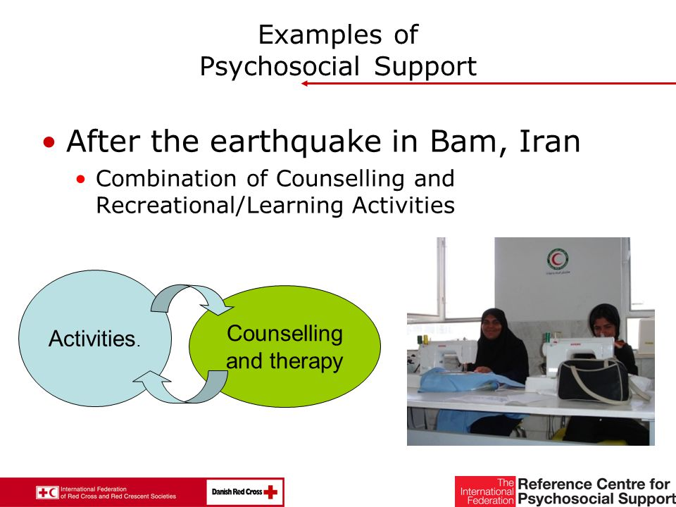 29 Examples of Psychosocial Support After the earthquake in Bam, Iran Combination of Counselling and Recreational/Learning Activities Activities.