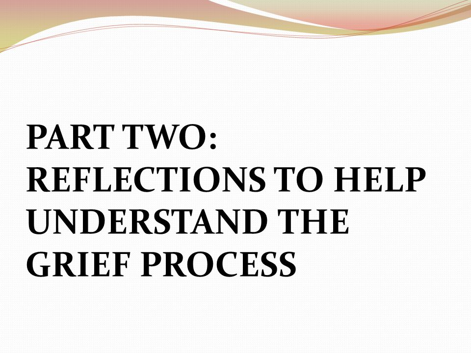PART TWO: REFLECTIONS TO HELP UNDERSTAND THE GRIEF PROCESS