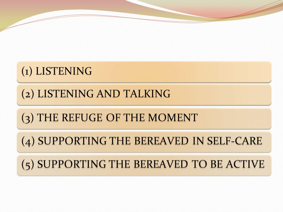 (1) LISTENING (2) LISTENING AND TALKING (3) THE REFUGE OF THE MOMENT (4) SUPPORTING THE BEREAVED IN SELF-CARE (5) SUPPORTING THE BEREAVED TO BE ACTIVE