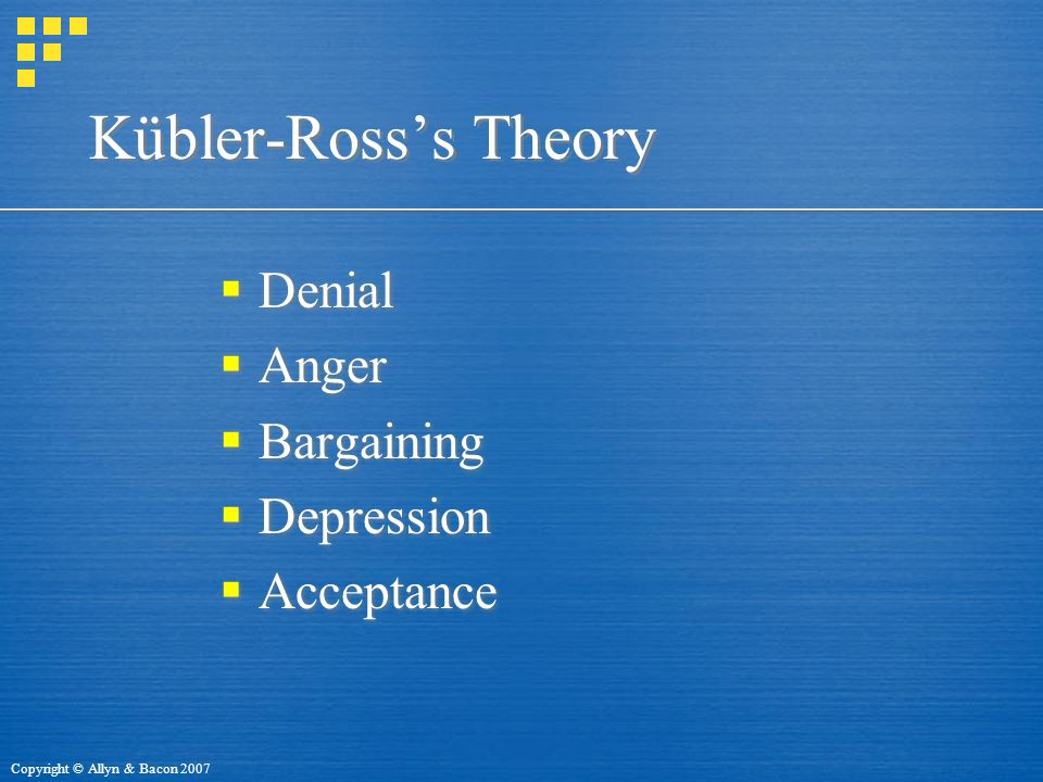 Copyright © Allyn & Bacon 2007 Kübler-Ross's Theory  Denial  Anger  Bargaining  Depression  Acceptance  Denial  Anger  Bargaining  Depression  Acceptance
