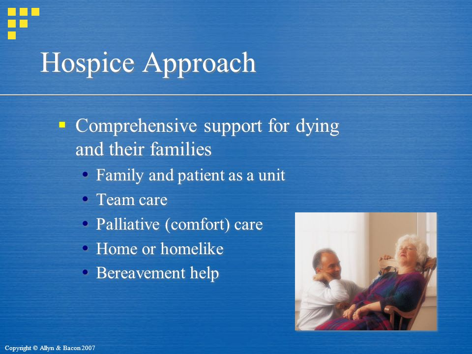Copyright © Allyn & Bacon 2007 Hospice Approach  Comprehensive support for dying and their families  Family and patient as a unit  Team care  Palliative (comfort) care  Home or homelike  Bereavement help  Comprehensive support for dying and their families  Family and patient as a unit  Team care  Palliative (comfort) care  Home or homelike  Bereavement help