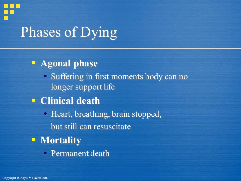 Copyright © Allyn & Bacon 2007 Phases of Dying  Agonal phase  Suffering in first moments body can no longer support life  Clinical death  Heart, breathing, brain stopped, but still can resuscitate  Mortality  Permanent death  Agonal phase  Suffering in first moments body can no longer support life  Clinical death  Heart, breathing, brain stopped, but still can resuscitate  Mortality  Permanent death