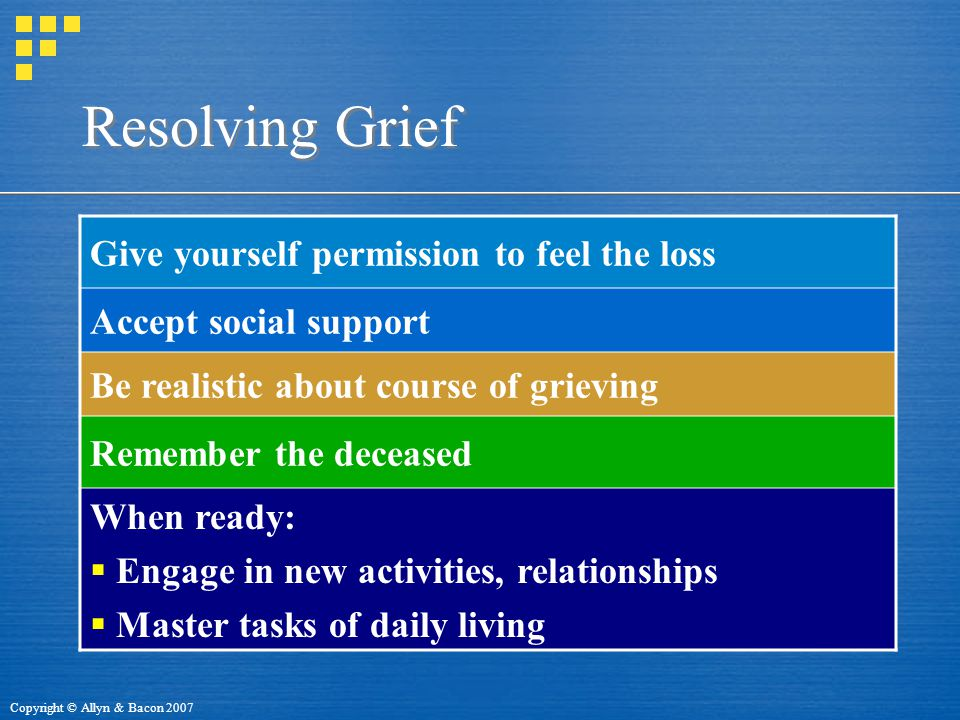 Copyright © Allyn & Bacon 2007 Resolving Grief Give yourself permission to feel the loss Accept social support Be realistic about course of grieving Remember the deceased When ready:  Engage in new activities, relationships  Master tasks of daily living