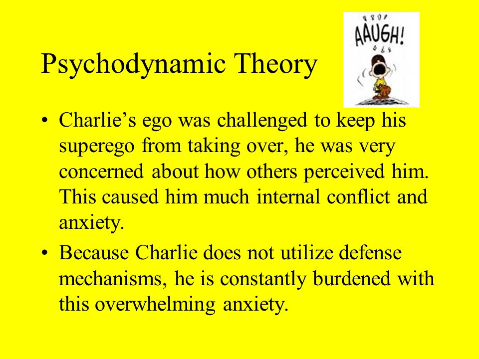 Psychodynamic Theory Charlie's ego was challenged to keep his superego from taking over, he was very concerned about how others perceived him.