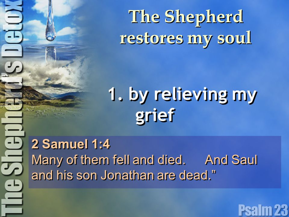The Shepherd restores my soul 1. by relieving my grief 2 Samuel 1:4 Many of them fell and died.
