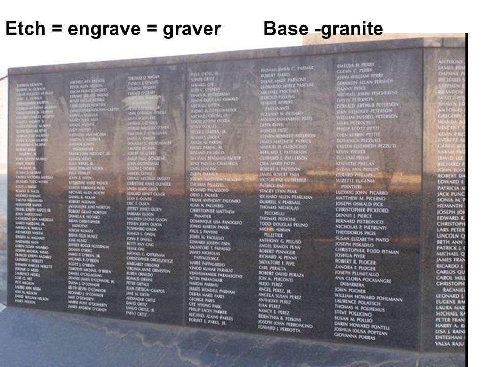 Etch = engrave = graver Base -granite
