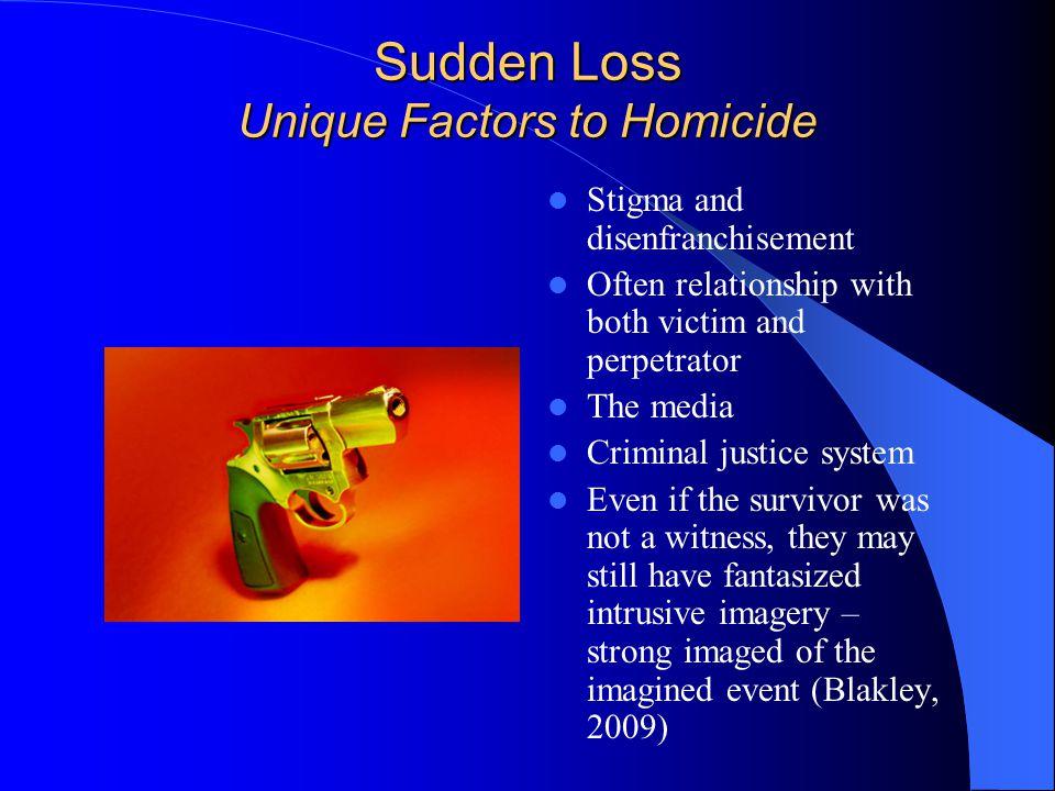 Sudden Loss Unique Factors to Suicide Conflict and ambivalence Stigma and disenfranchisement Family stigma