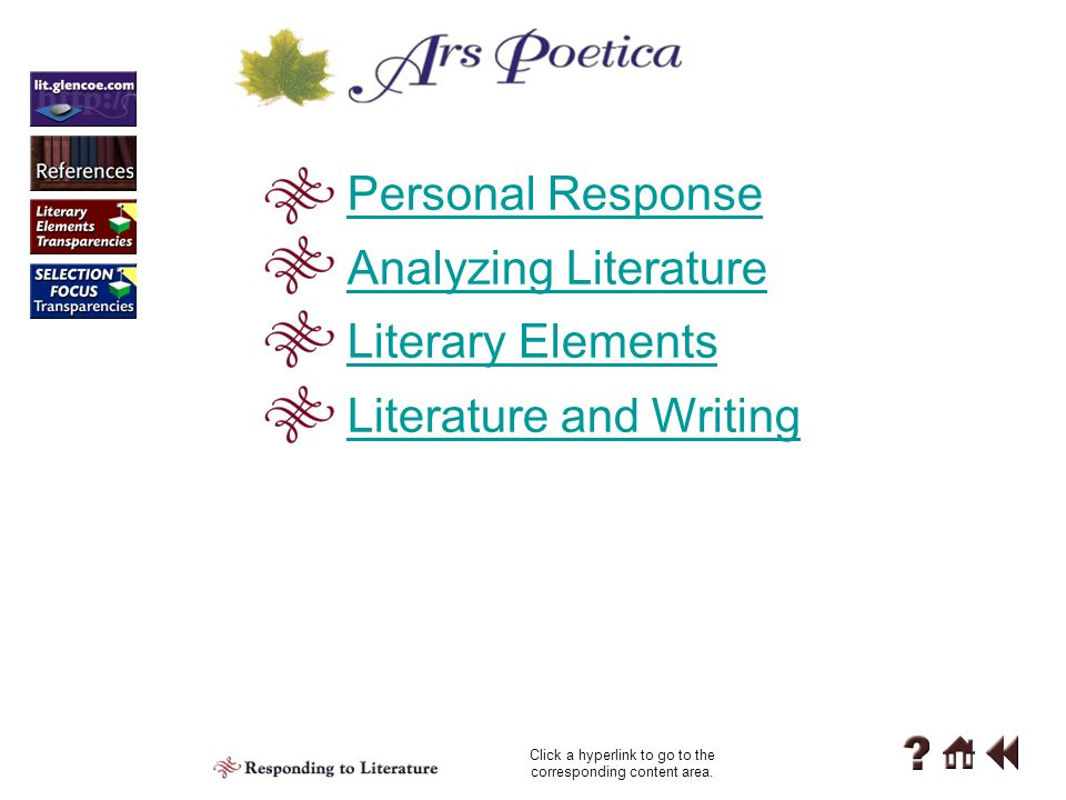 "Literary Elements Reading 1-C C Rhyme Scheme and Meter Most of ""Ars Poetica"" is written in rhymed couplets, so it is not free verse. Is the meter of t"