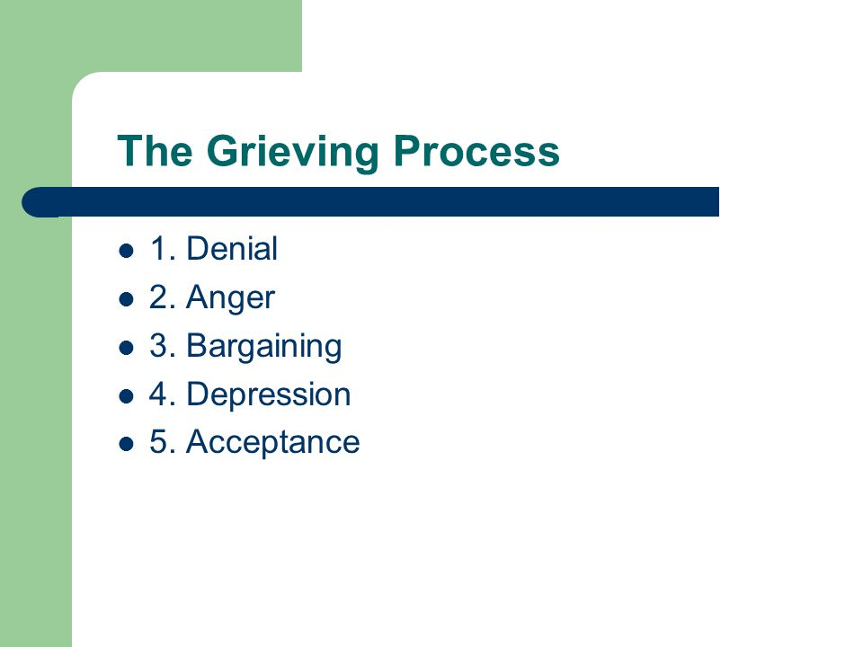 The Grieving Process 1. Denial 2. Anger 3. Bargaining 4. Depression 5. Acceptance
