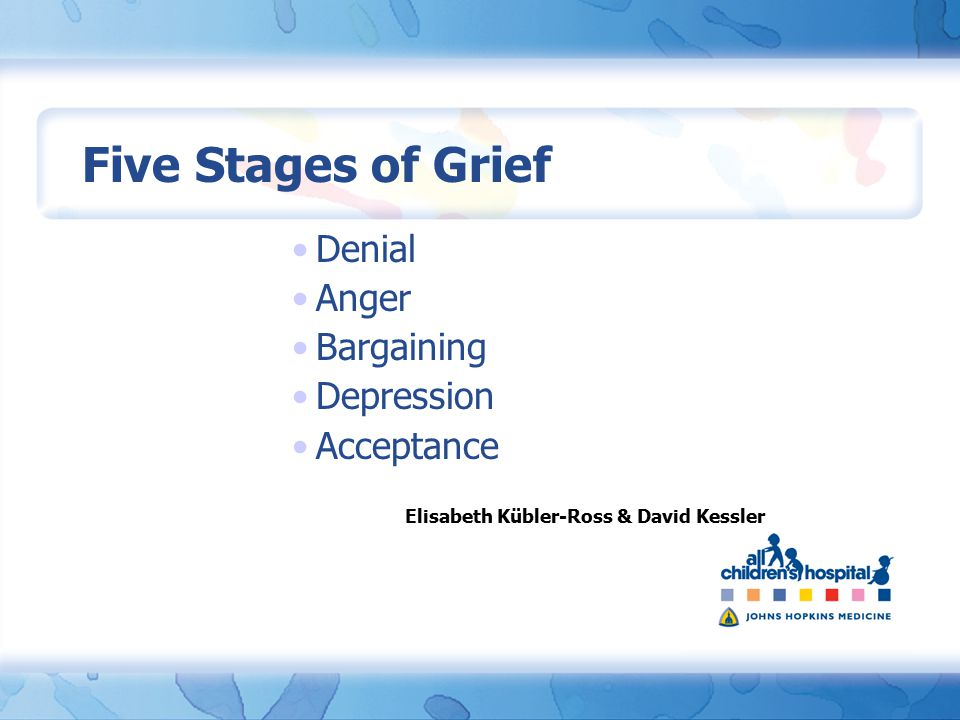 Five Stages of Grief Denial Anger Bargaining Depression Acceptance Elisabeth Kübler-Ross & David Kessler