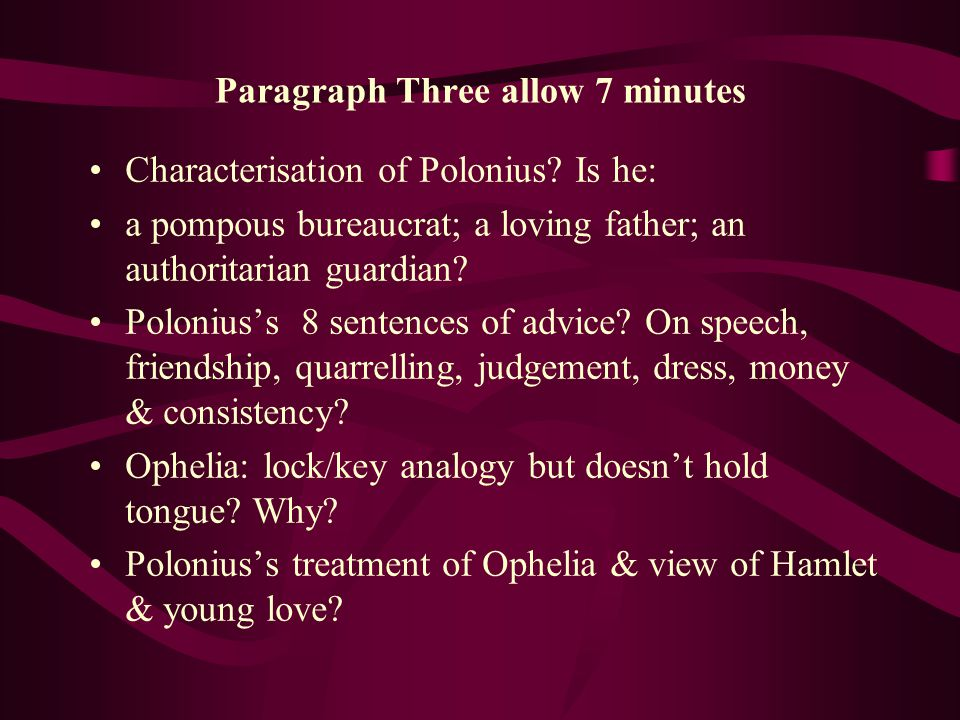 Paragraph Three allow 7 minutes Characterisation of Polonius.