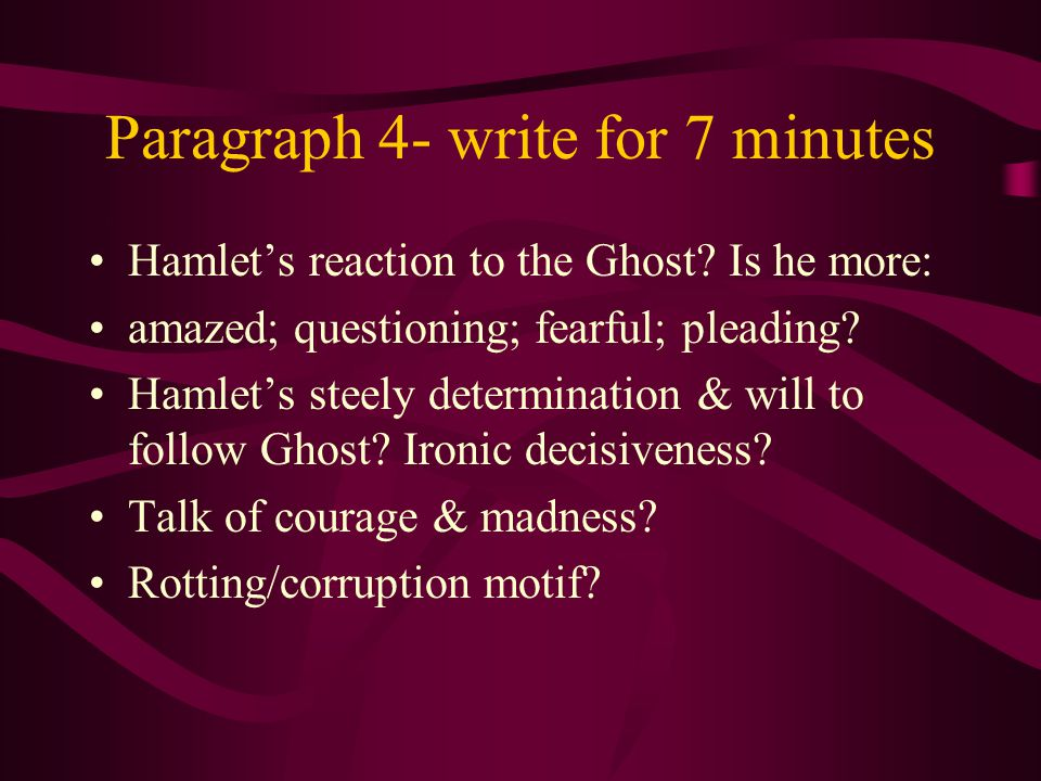 Paragraph 4- write for 7 minutes Hamlet's reaction to the Ghost.
