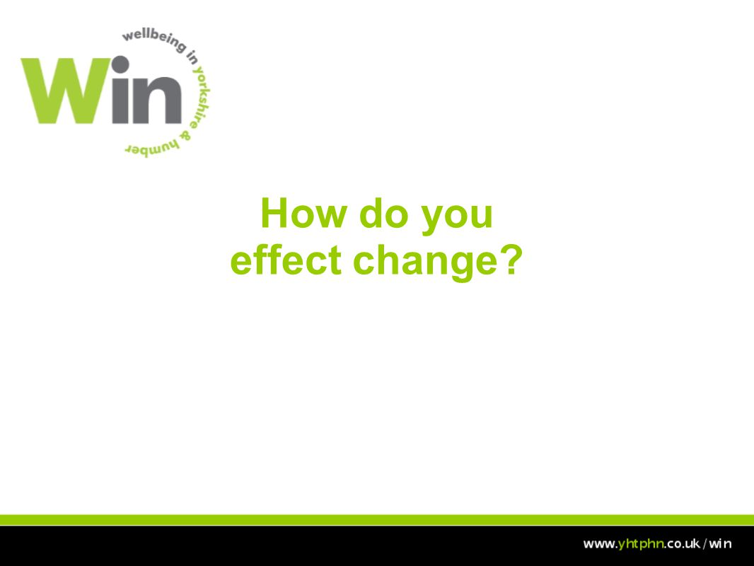 Aim To empower you to respond to identified health needs by developing your understanding of change management, behavioural change, influencing and negotiation.