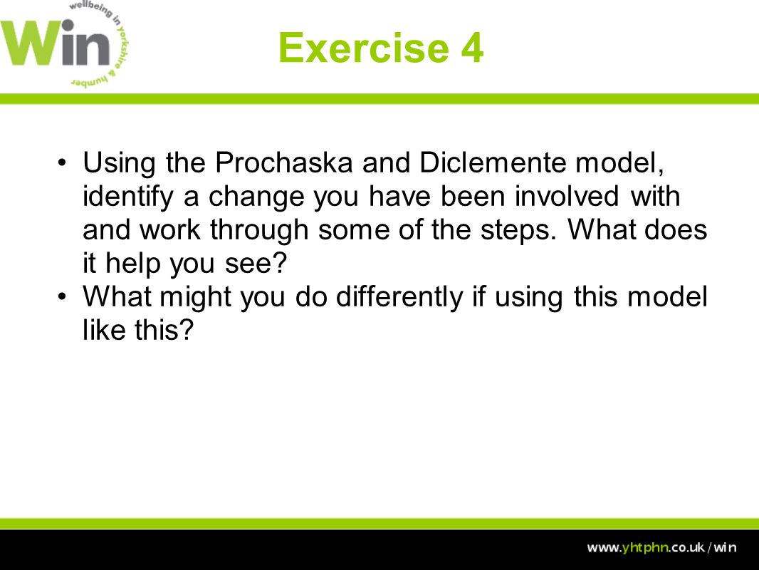 Exercise 4 Using the Prochaska and Diclemente model, identify a change you have been involved with and work through some of the steps.
