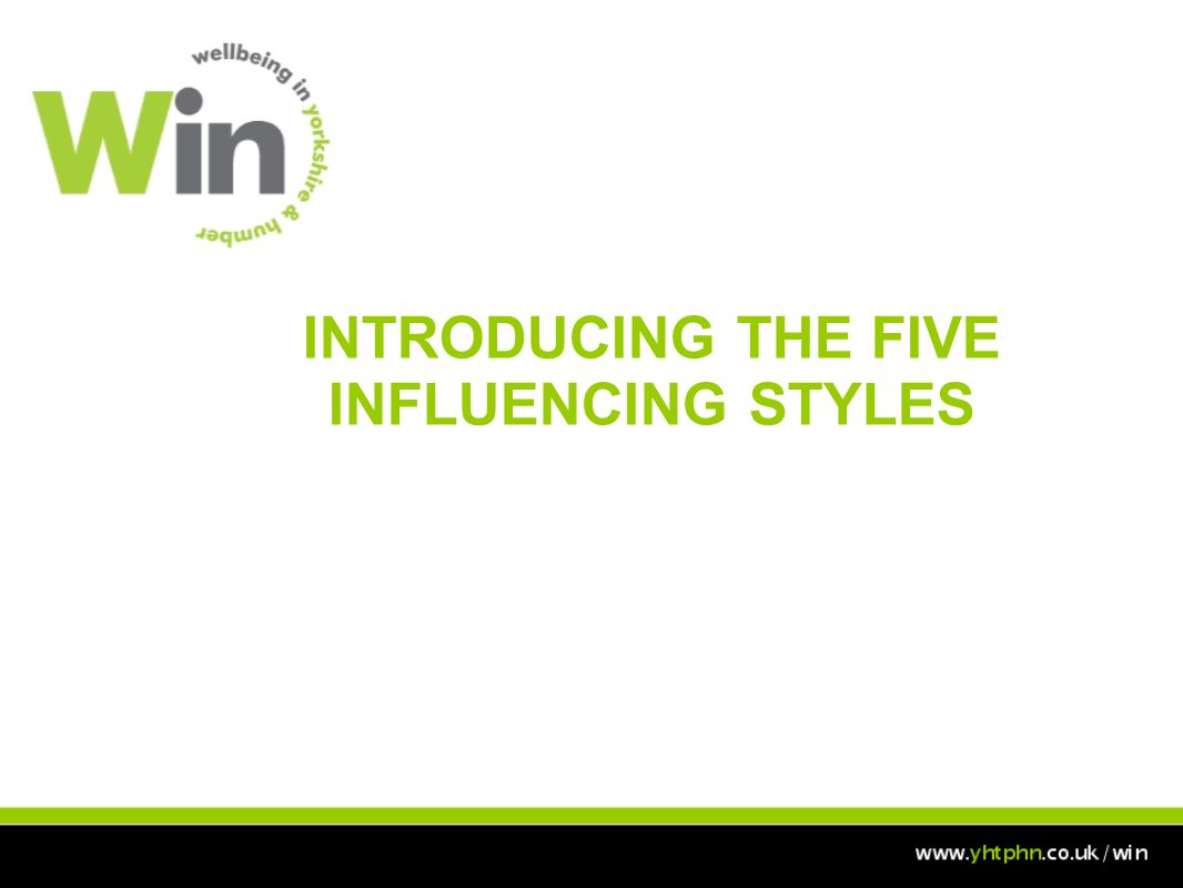 INTRODUCING THE FIVE INFLUENCING STYLES