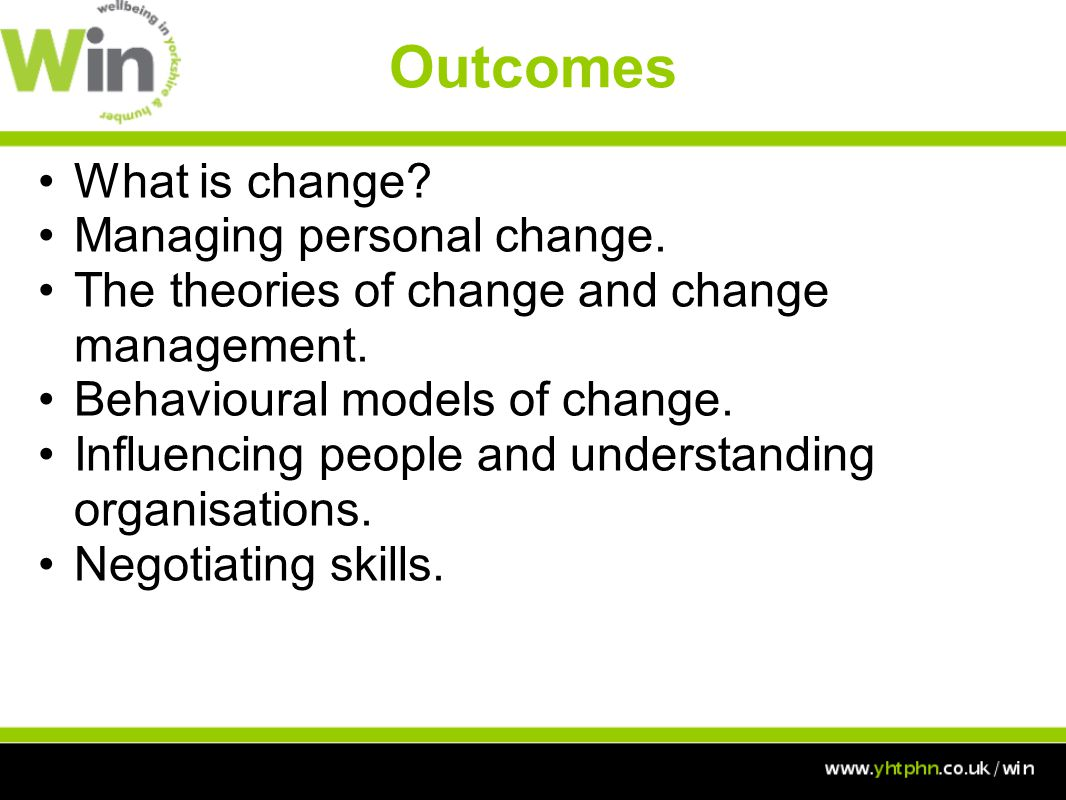 Outcomes What is change. Managing personal change.