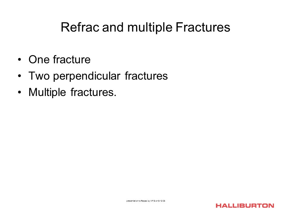 presentation to Repsol by MYS on 9/13/06 Refrac and multiple Fractures One fracture Two perpendicular fractures Multiple fractures.